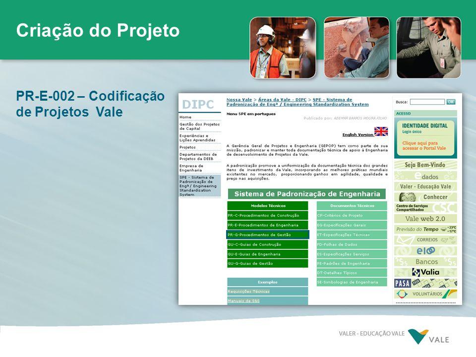 PR-E-002 – Codificação de Projetos Vale Criação do Projeto