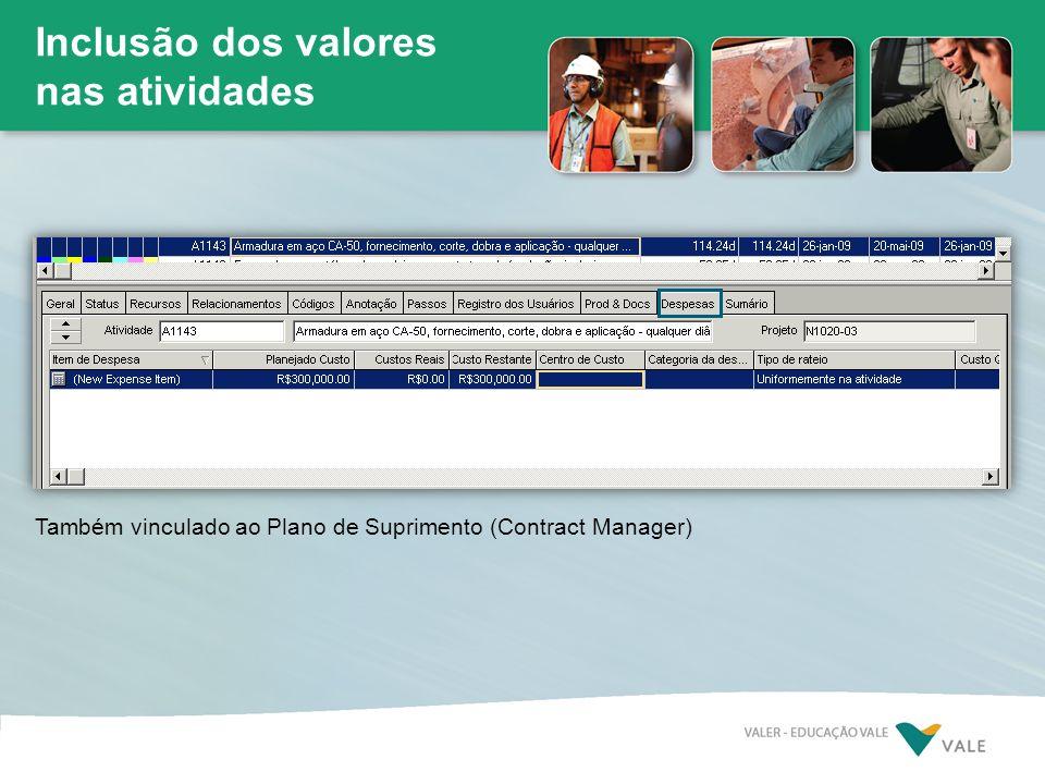 Inclusão dos valores nas atividades Também vinculado ao Plano de Suprimento (Contract Manager)