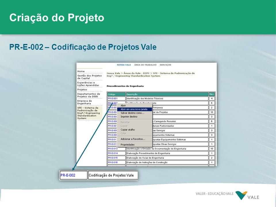 PR-E-002 – Codificação de Projetos Vale