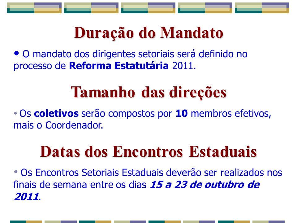Duração do Mandato O mandato dos dirigentes setoriais será definido no processo de Reforma Estatutária 2011.