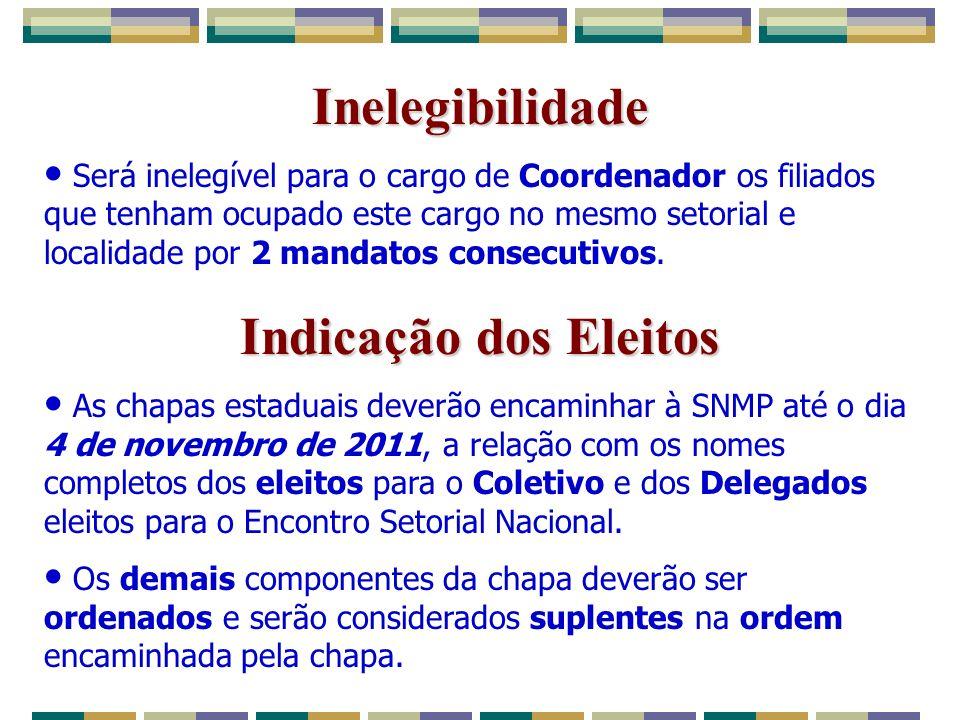 Inelegibilidade Será inelegível para o cargo de Coordenador os filiados que tenham ocupado este cargo no mesmo setorial e localidade por 2 mandatos consecutivos.