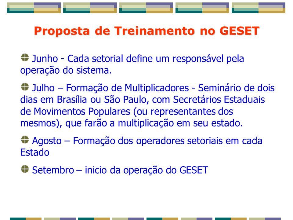 Proposta de Treinamento no GESET Junho - Cada setorial define um responsável pela operação do sistema.