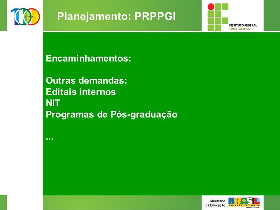 Encaminhamentos: Outras demandas: Editais internos NIT Programas de Pós-graduação...