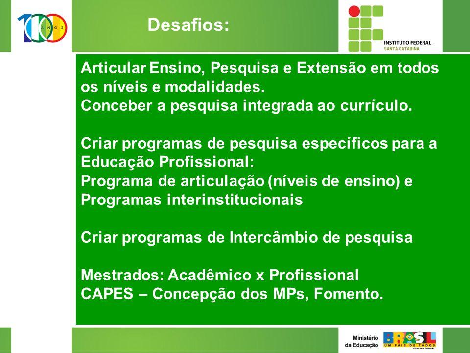 Articular Ensino, Pesquisa e Extensão em todos os níveis e modalidades.