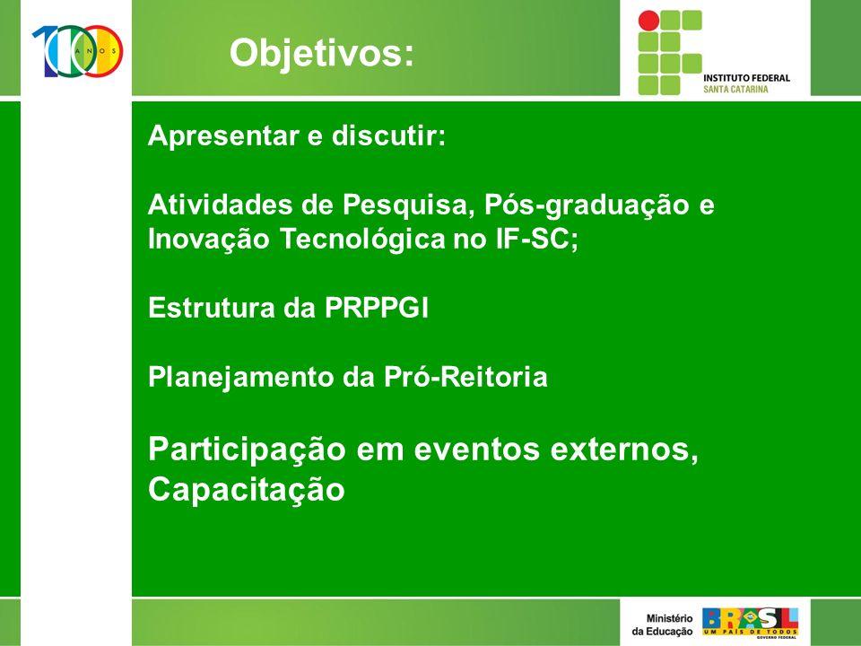 Objetivos: Apresentar e discutir: Atividades de Pesquisa, Pós-graduação e Inovação Tecnológica no IF-SC; Estrutura da PRPPGI Planejamento da Pró-Reitoria Participação em eventos externos, Capacitação