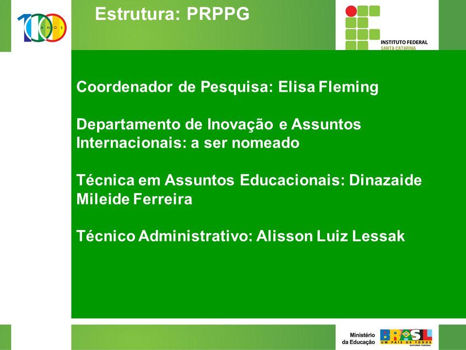 Coordenador de Pesquisa: Elisa Fleming Departamento de Inovação e Assuntos Internacionais: a ser nomeado Técnica em Assuntos Educacionais: Dinazaide Mileide Ferreira Técnico Administrativo: Alisson Luiz Lessak 2/2 Estrutura: PRPPG