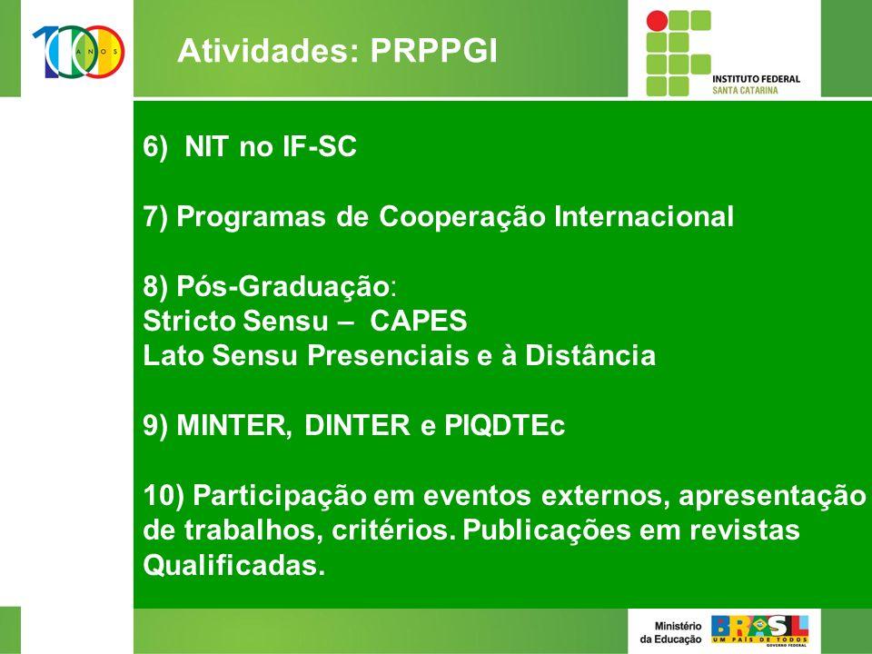 6) NIT no IF-SC 7) Programas de Cooperação Internacional 8) Pós-Graduação: Stricto Sensu – CAPES Lato Sensu Presenciais e à Distância 9) MINTER, DINTER e PIQDTEc 10) Participação em eventos externos, apresentação de trabalhos, critérios.