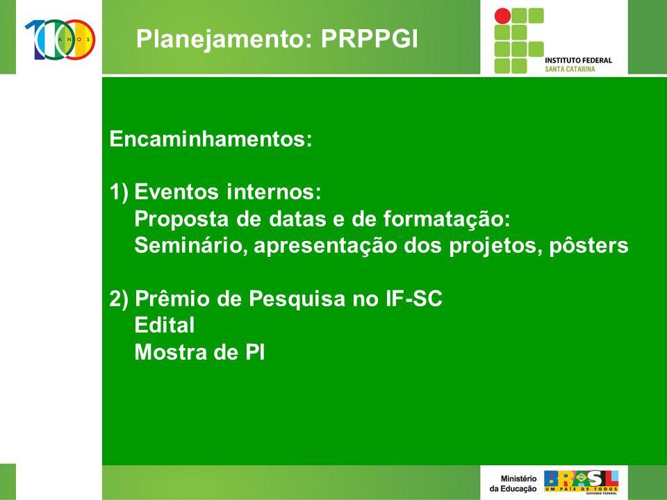 Encaminhamentos: 1)Eventos internos: Proposta de datas e de formatação: Seminário, apresentação dos projetos, pôsters 2) Prêmio de Pesquisa no IF-SC Edital Mostra de PI 2/2 Planejamento: PRPPGI