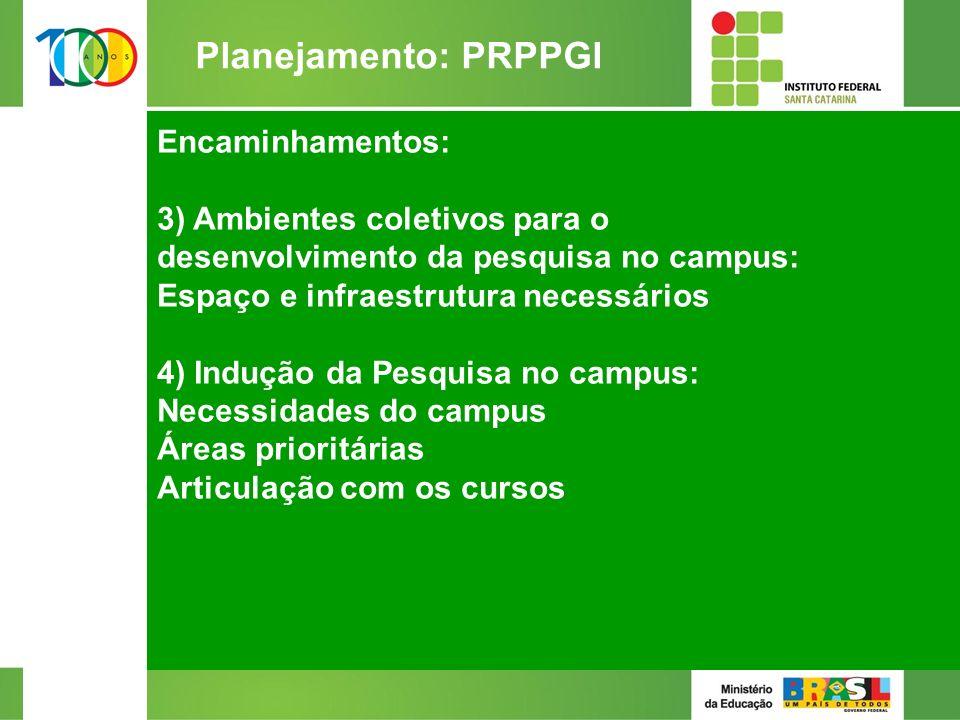 Encaminhamentos: 3) Ambientes coletivos para o desenvolvimento da pesquisa no campus: Espaço e infraestrutura necessários 4) Indução da Pesquisa no campus: Necessidades do campus Áreas prioritárias Articulação com os cursos 2/2 Planejamento: PRPPGI