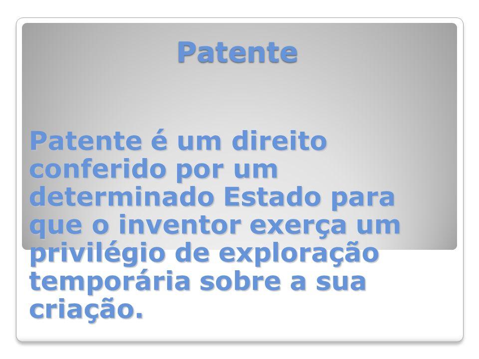 Patente Patente é um direito conferido por um determinado Estado para que o inventor exerça um privilégio de exploração temporária sobre a sua criação.