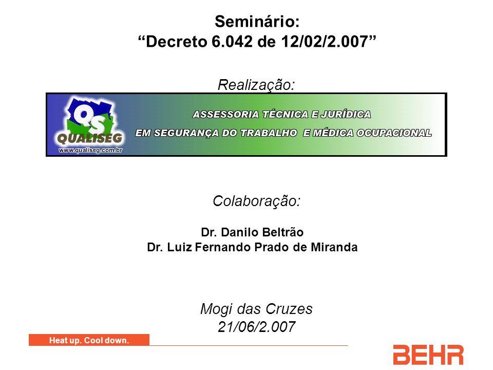 Heat up. Cool down. Seminário: Decreto 6.042 de 12/02/2.007 Realização: Colaboração: Mogi das Cruzes 21/06/2.007 Dr. Danilo Beltrão Dr. Luiz Fernando