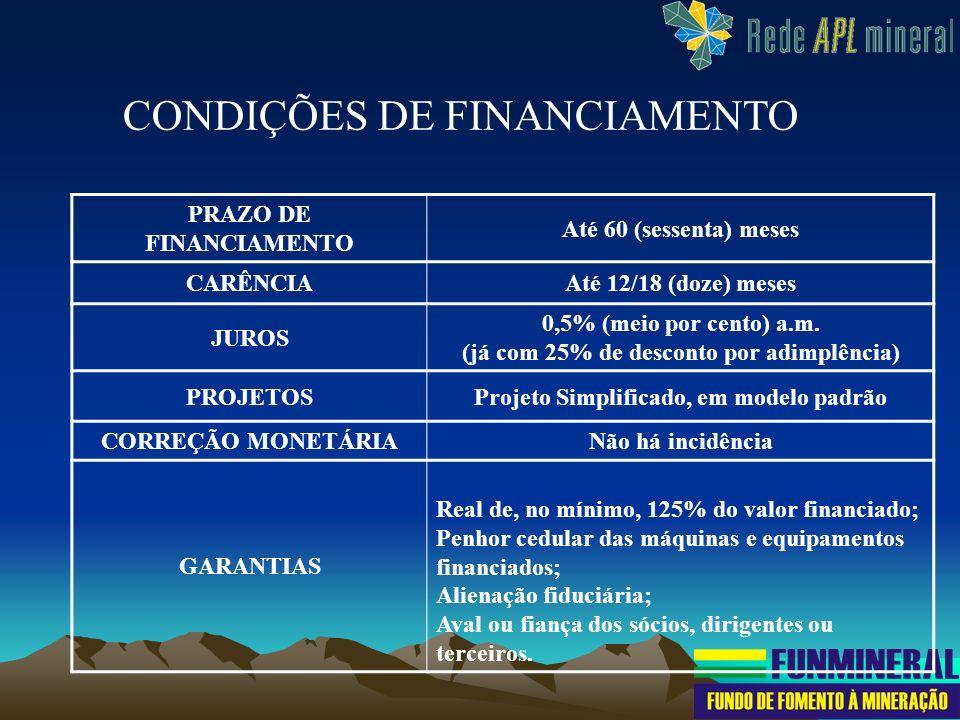 PRAZO DE FINANCIAMENTO Até 60 (sessenta) meses CARÊNCIAAté 12/18 (doze) meses JUROS 0,5% (meio por cento) a.m. (já com 25% de desconto por adimplência
