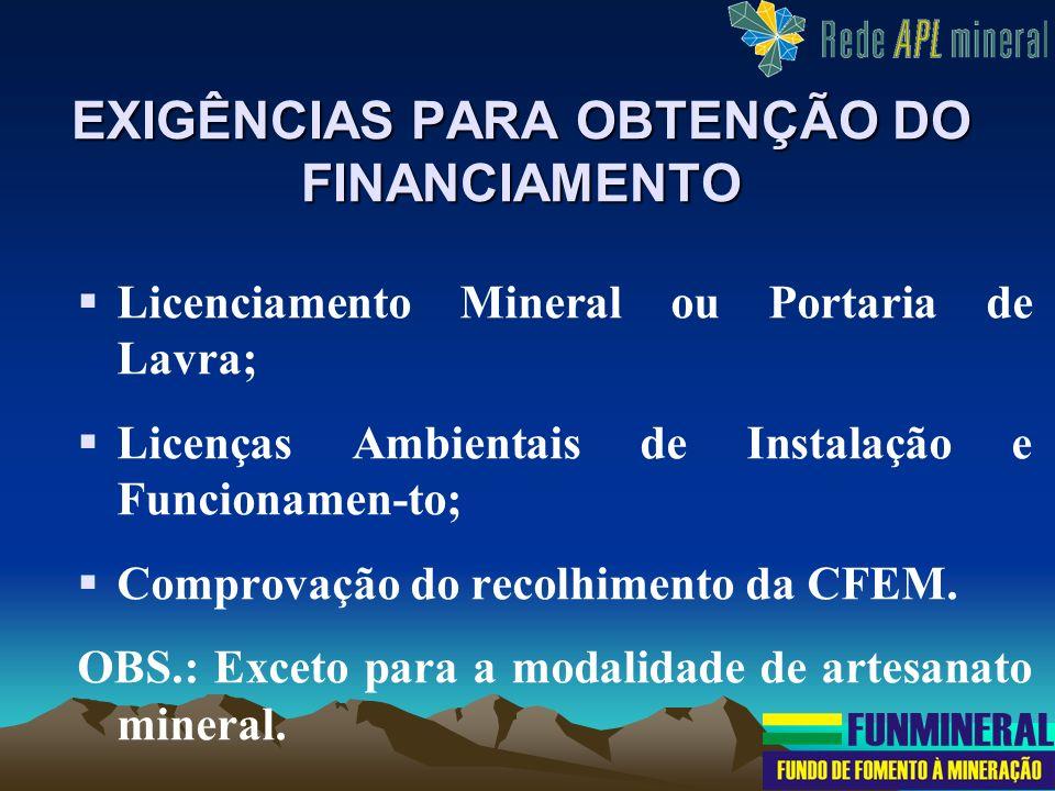 Licenciamento Mineral ou Portaria de Lavra; Licenças Ambientais de Instalação e Funcionamen-to; Comprovação do recolhimento da CFEM. OBS.: Exceto para