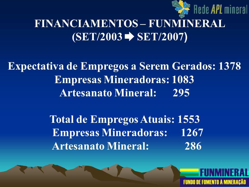 Expectativa de Empregos a Serem Gerados: 1378 Empresas Mineradoras: 1083 Artesanato Mineral: 295 Total de Empregos Atuais: 1553 Empresas Mineradoras: