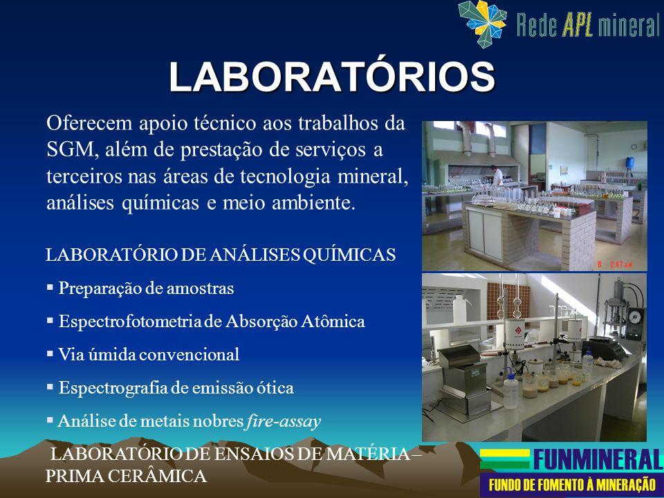 LABORATÓRIOS Oferecem apoio técnico aos trabalhos da SGM, além de prestação de serviços a terceiros nas áreas de tecnologia mineral, análises químicas