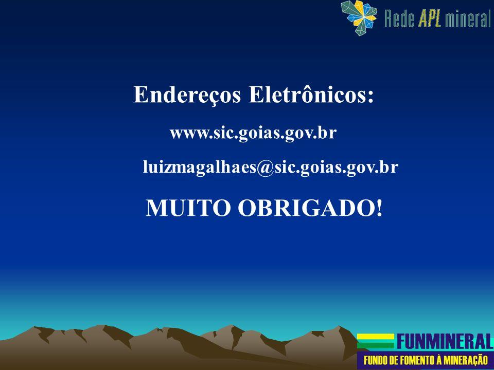 Endereços Eletrônicos: www.sic.goias.gov.br luizmagalhaes@sic.goias.gov.br MUITO OBRIGADO!