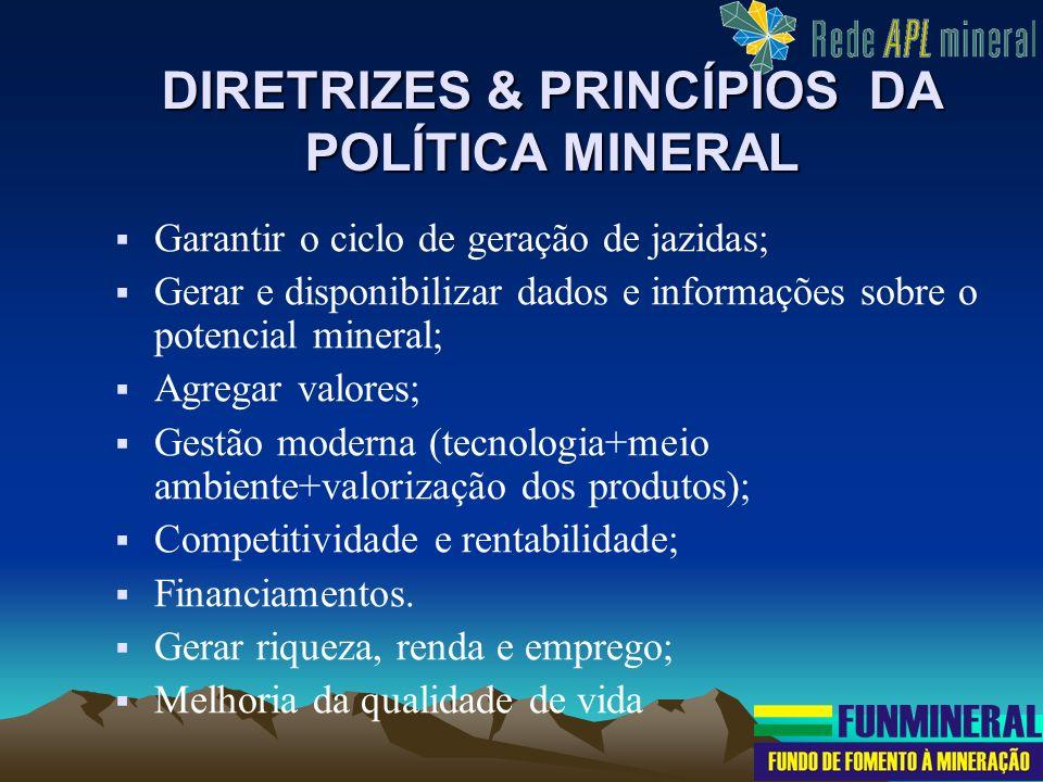 DIRETRIZES & PRINCÍPIOS DA POLÍTICA MINERAL Garantir o ciclo de geração de jazidas; Gerar e disponibilizar dados e informações sobre o potencial miner