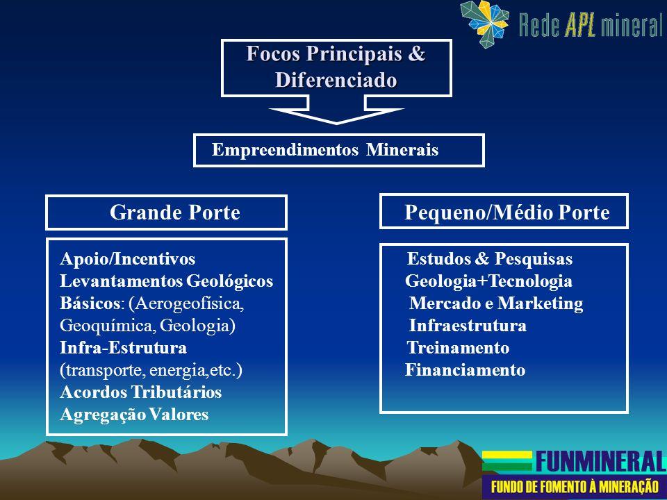 Focos Principais & Diferenciado Empreendimentos Minerais Grande Porte Pequeno/Médio Porte Apoio/Incentivos Estudos & Pesquisas Levantamentos Geológico