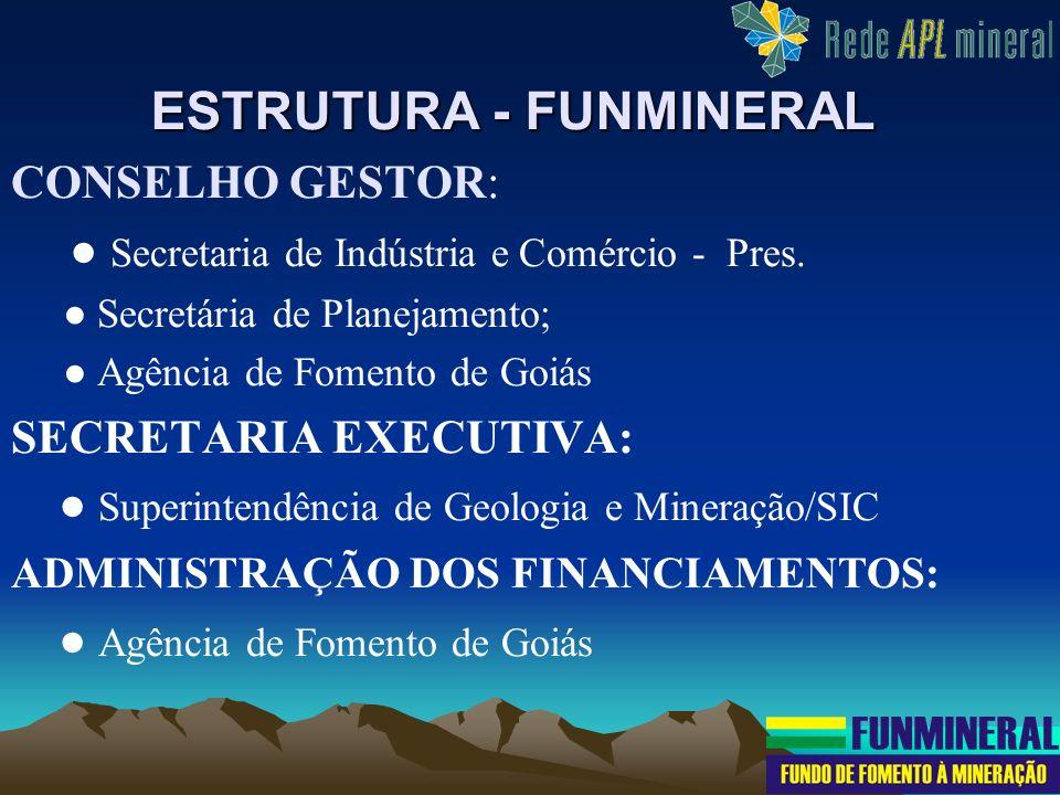 CONSELHO GESTOR: Secretaria de Indústria e Comércio - Pres. Secretária de Planejamento; Agência de Fomento de Goiás SECRETARIA EXECUTIVA: Superintendê