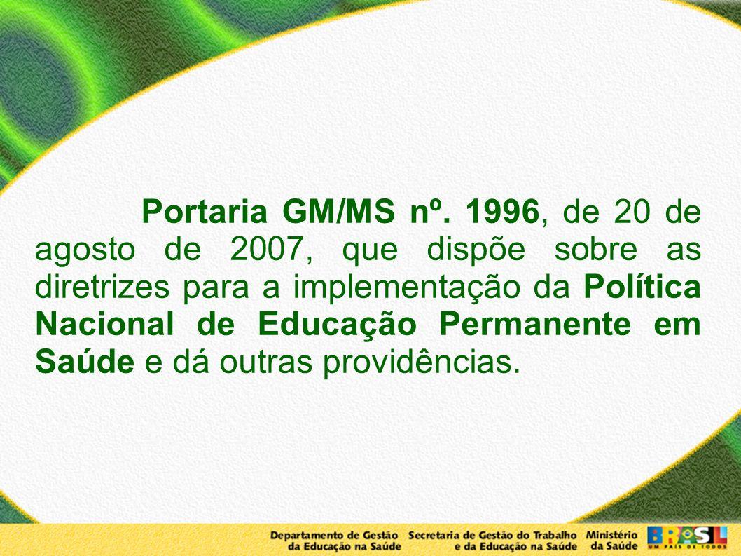 Portaria GM/MS nº. 1996, de 20 de agosto de 2007, que dispõe sobre as diretrizes para a implementação da Política Nacional de Educação Permanente em S
