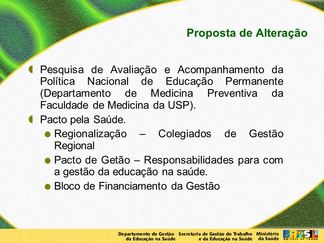 Proposta de Alteração Pesquisa de Avaliação e Acompanhamento da Política Nacional de Educação Permanente (Departamento de Medicina Preventiva da Facul