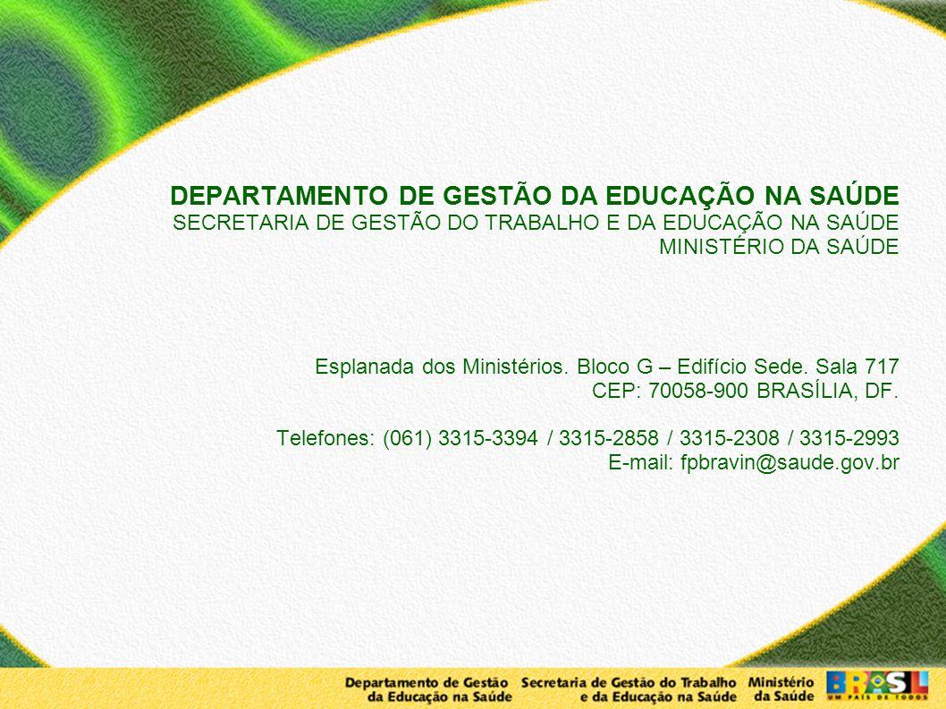 DEPARTAMENTO DE GESTÃO DA EDUCAÇÃO NA SAÚDE SECRETARIA DE GESTÃO DO TRABALHO E DA EDUCAÇÃO NA SAÚDE MINISTÉRIO DA SAÚDE Esplanada dos Ministérios. Blo