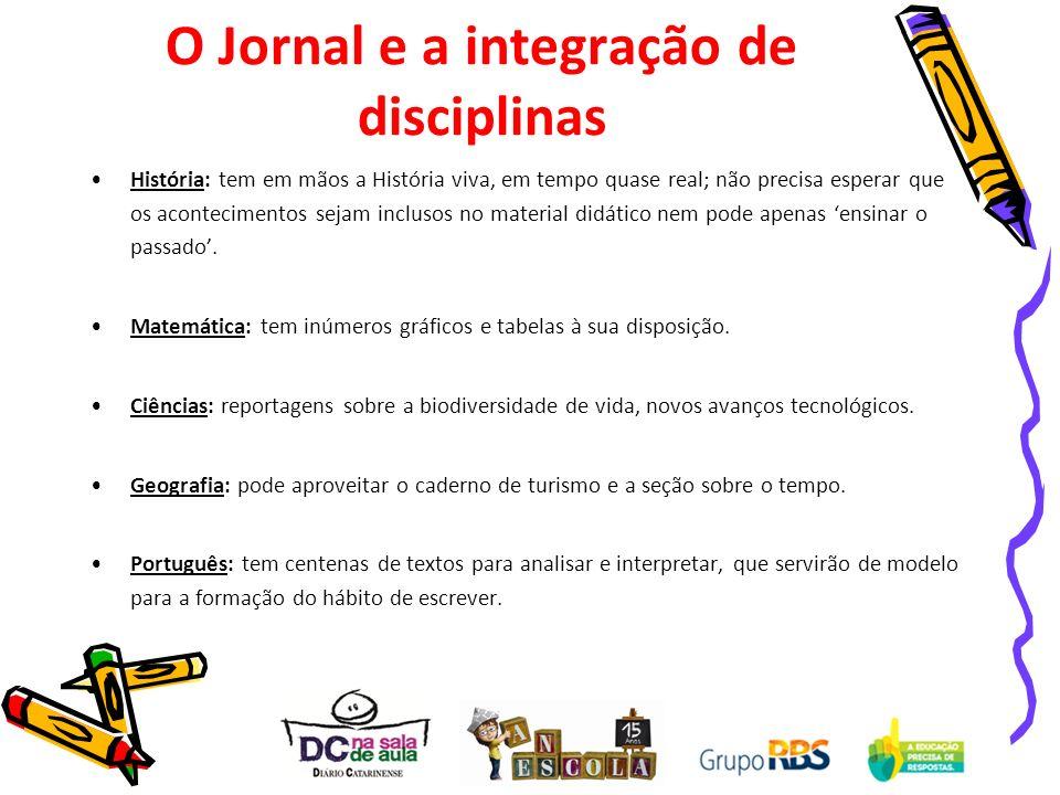 O Jornal e a integração de disciplinas História: tem em mãos a História viva, em tempo quase real; não precisa esperar que os acontecimentos sejam inc