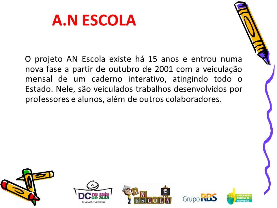 O projeto AN Escola existe há 15 anos e entrou numa nova fase a partir de outubro de 2001 com a veiculação mensal de um caderno interativo, atingindo