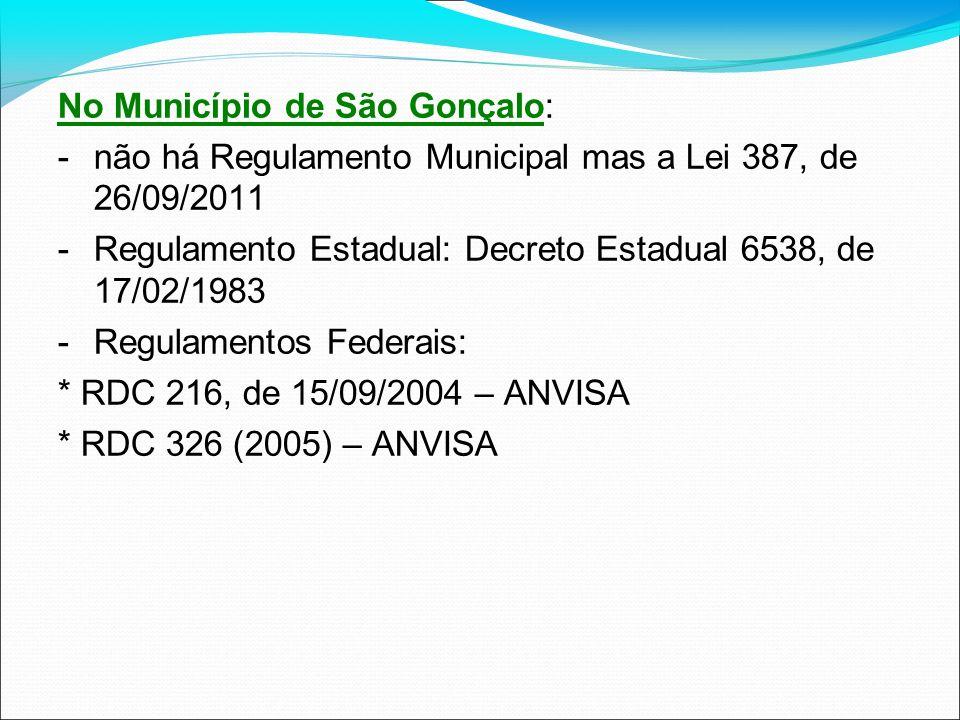 No Município de São Gonçalo: -não há Regulamento Municipal mas a Lei 387, de 26/09/2011 -Regulamento Estadual: Decreto Estadual 6538, de 17/02/1983 -R