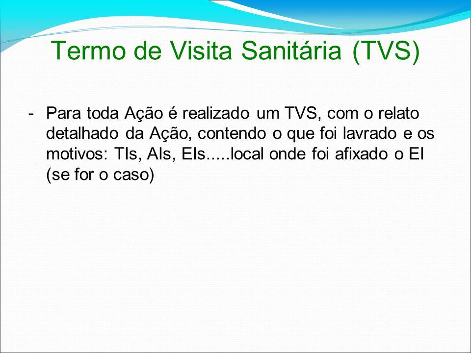 Termo de Visita Sanitária (TVS) -Para toda Ação é realizado um TVS, com o relato detalhado da Ação, contendo o que foi lavrado e os motivos: TIs, AIs,