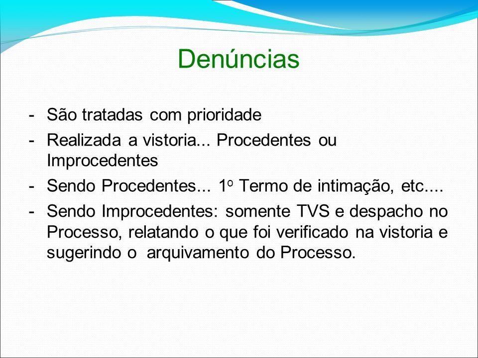 Denúncias -São tratadas com prioridade -Realizada a vistoria... Procedentes ou Improcedentes -Sendo Procedentes... 1 o Termo de intimação, etc.... -Se