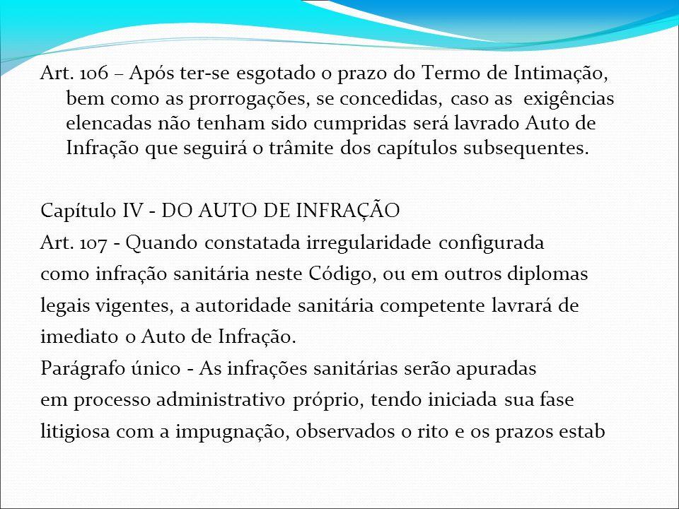 Art. 106 – Após ter-se esgotado o prazo do Termo de Intimação, bem como as prorrogações, se concedidas, caso as exigências elencadas não tenham sido c