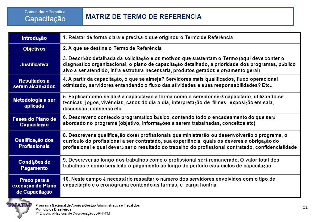 Programa Nacional de Apoio à Gestão Administrativa e Fiscal dos Municípios Brasileiros 7º Encontro Nacional de Coordenação do PNAFM Comunidade Temática Capacitação 11 MATRIZ DE TERMO DE REFERÊNCIA Introdu ç ão 1.