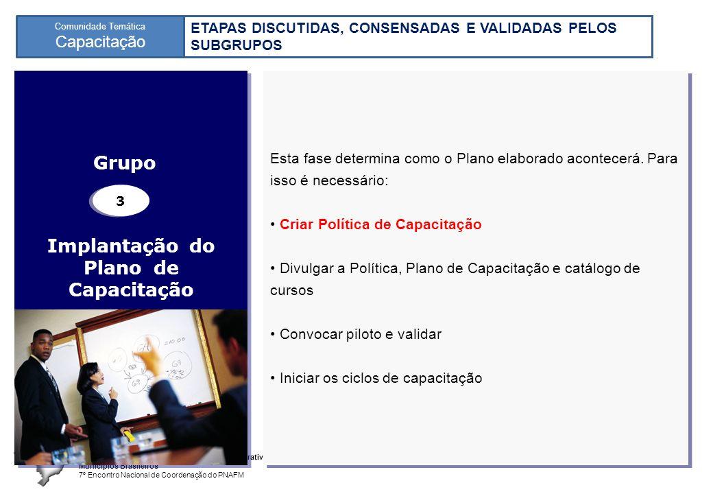 Programa Nacional de Apoio à Gestão Administrativa e Fiscal dos Municípios Brasileiros 7º Encontro Nacional de Coordenação do PNAFM Comunidade Temática Capacitação 8 Implantação do Plano de Capacitação Esta fase determina como o Plano elaborado acontecerá.