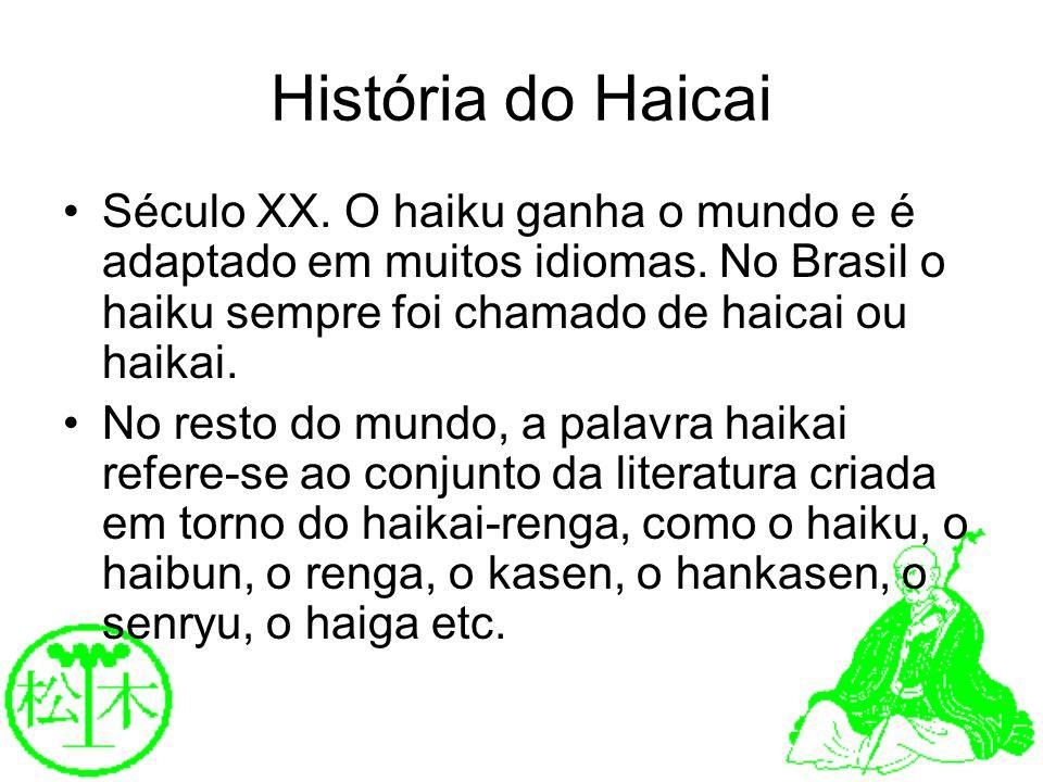 História do Haicai Século XX. O haiku ganha o mundo e é adaptado em muitos idiomas. No Brasil o haiku sempre foi chamado de haicai ou haikai. No resto