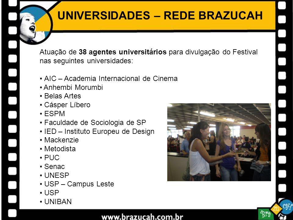 UNIVERSIDADES – REDE BRAZUCAH Atuação de 38 agentes universitários para divulgação do Festival nas seguintes universidades: AIC – Academia Internacion
