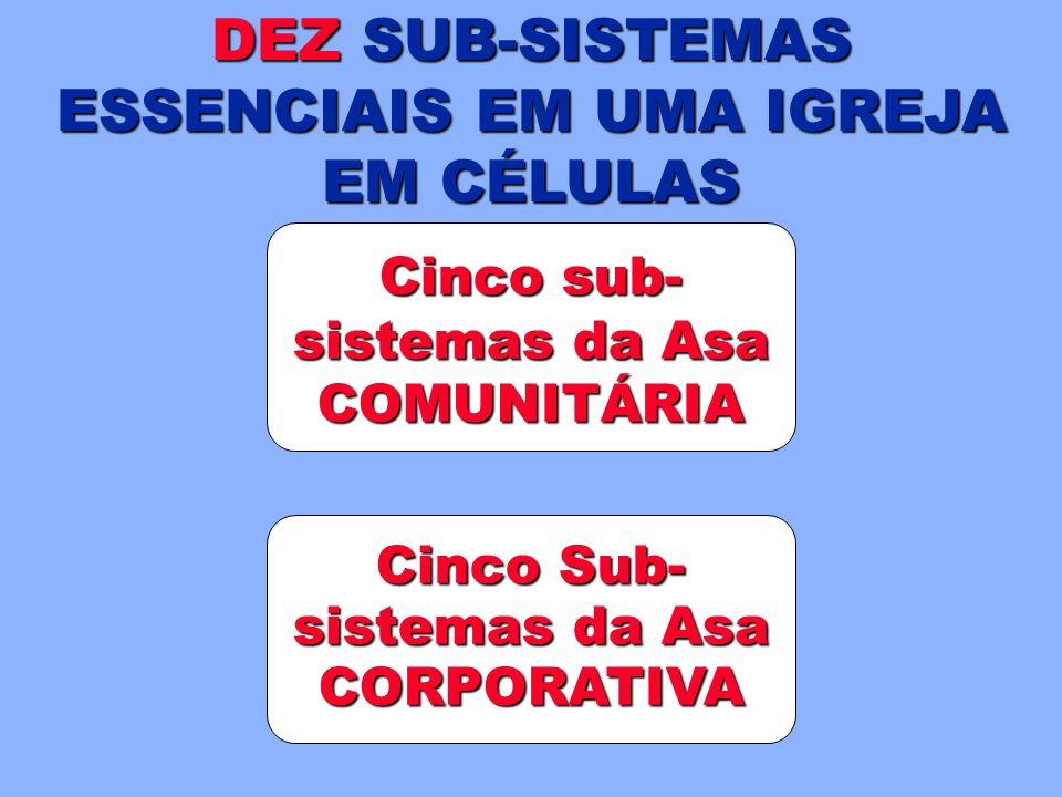 DEZ SUB-SISTEMAS ESSENCIAIS EM UMA IGREJA EM CÉLULAS Cinco sub- sistemas da Asa COMUNITÁRIA Cinco Sub- sistemas da Asa CORPORATIVA