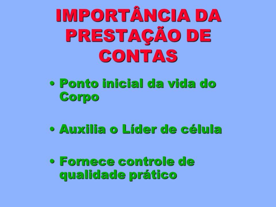 Relacionamento discipulador/discípulo Parceiros de célula Estrutura de liderança Formulários PRESTAÇÃO DE CONTAS