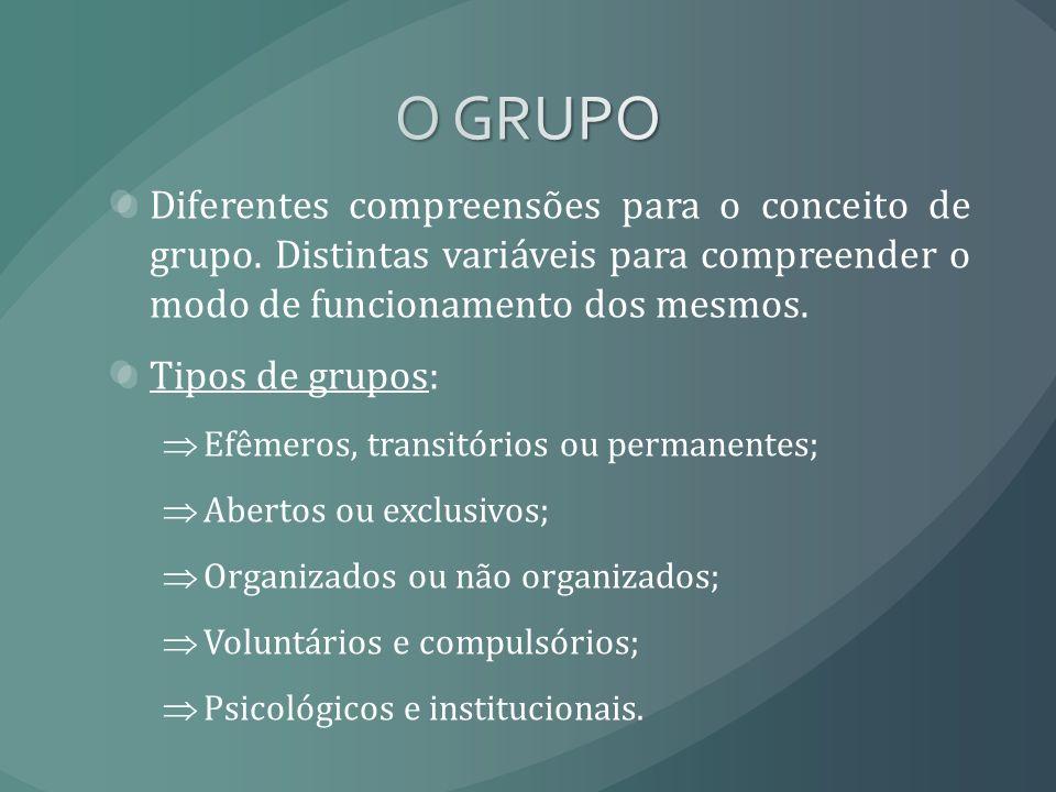 Diferentes compreensões para o conceito de grupo. Distintas variáveis para compreender o modo de funcionamento dos mesmos. Tipos de grupos: Efêmeros,