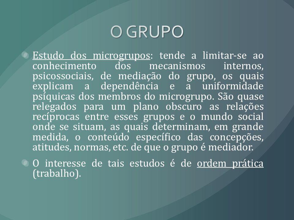 Estudo dos microgrupos: tende a limitar-se ao conhecimento dos mecanismos internos, psicossociais, de mediação do grupo, os quais explicam a dependênc