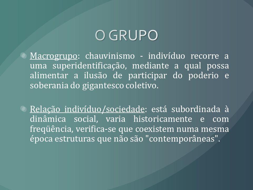 Macrogrupo: chauvinismo - indivíduo recorre a uma superidentificação, mediante a qual possa alimentar a ilusão de participar do poderio e soberania do