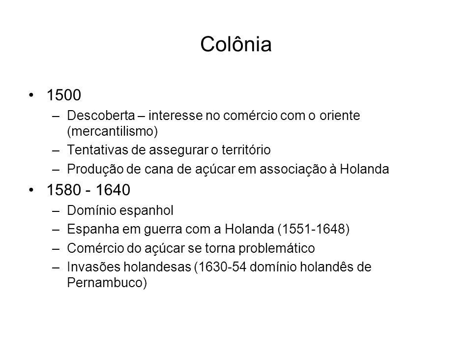 Colônia 1500 –Descoberta – interesse no comércio com o oriente (mercantilismo) –Tentativas de assegurar o território –Produção de cana de açúcar em as