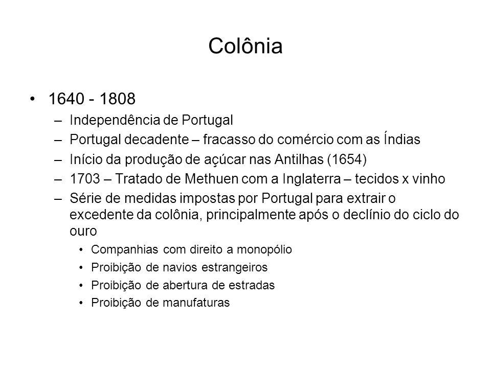 Colônia 1640 - 1808 –Independência de Portugal –Portugal decadente – fracasso do comércio com as Índias –Início da produção de açúcar nas Antilhas (16