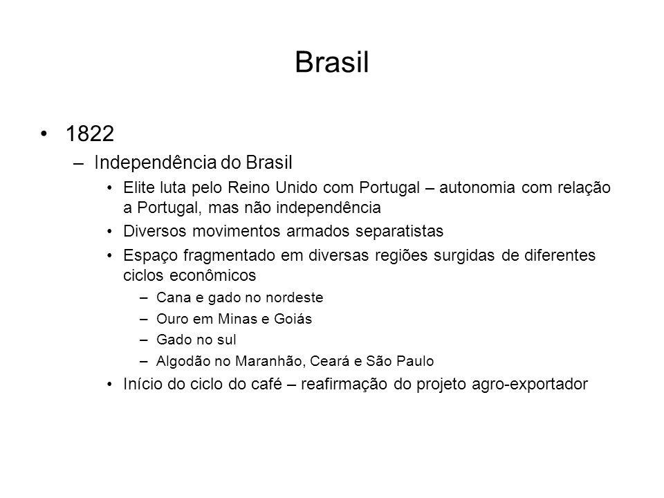 Brasil 1822 –Independência do Brasil Elite luta pelo Reino Unido com Portugal – autonomia com relação a Portugal, mas não independência Diversos movim