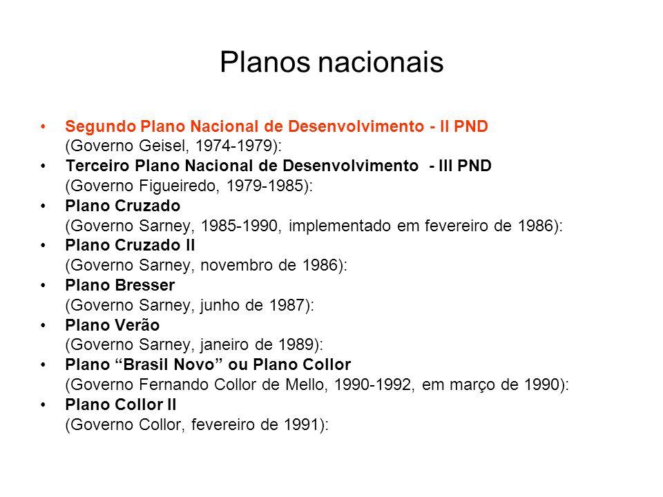 Planos nacionais Segundo Plano Nacional de Desenvolvimento - II PND (Governo Geisel, 1974-1979): Terceiro Plano Nacional de Desenvolvimento - III PND