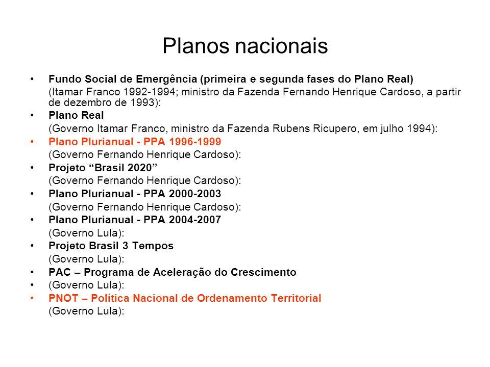 Planos nacionais Fundo Social de Emergência (primeira e segunda fases do Plano Real) (Itamar Franco 1992-1994; ministro da Fazenda Fernando Henrique C
