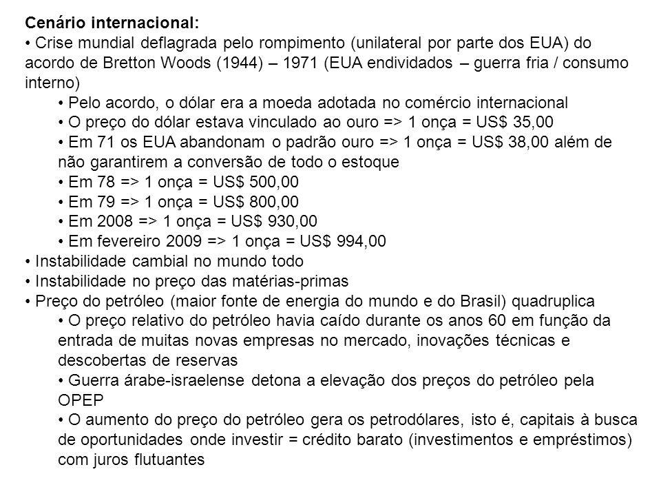 Cenário internacional: Crise mundial deflagrada pelo rompimento (unilateral por parte dos EUA) do acordo de Bretton Woods (1944) – 1971 (EUA endividad