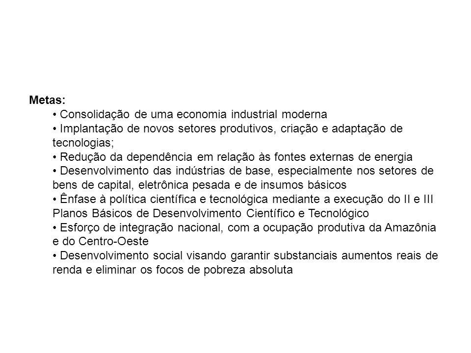 Metas: Consolidação de uma economia industrial moderna Implantação de novos setores produtivos, criação e adaptação de tecnologias; Redução da dependê
