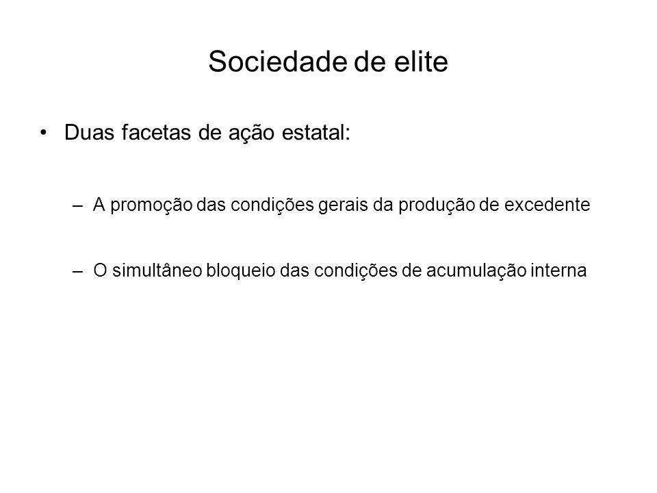 Sociedade de elite Duas facetas de ação estatal: –A promoção das condições gerais da produção de excedente –O simultâneo bloqueio das condições de acu