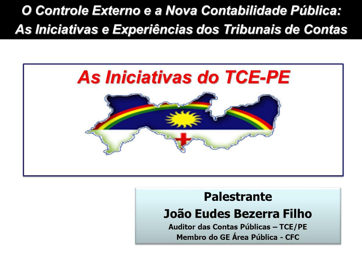 Palestrante João Eudes Bezerra Filho Auditor das Contas Públicas – TCE/PE Membro do GE Área Pública - CFC Palestrante João Eudes Bezerra Filho Auditor